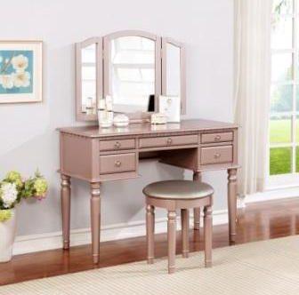 clean makeup vanity desk
